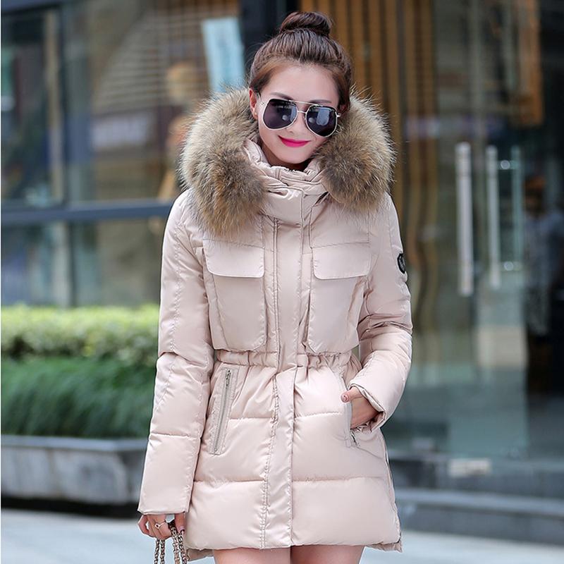 2015 Womens Winter Hooded Coats Fur Parka Jacket Long Lady Outerwear ALOM