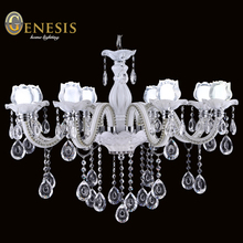 2015 autumn modern design white flower handmade glass with hanging best clear k9 crystal LED 2 level chandeliers light(China (Mainland))
