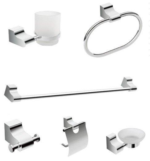 Free Shipping Bathroom Products Bathroom Accessories Bath Hardware Set Six Pcs Set  Robe Hook Towel Ring CY-250/6 Zinc Chrome
