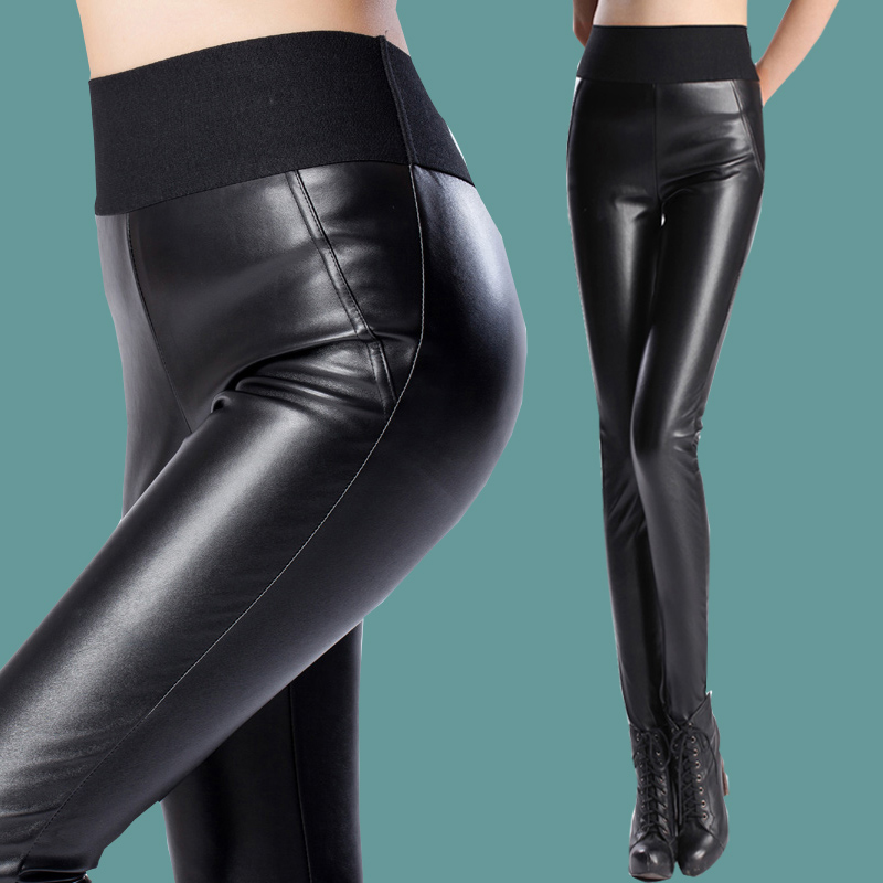 High Waist faux leather pants 3xl womens fleece trousers for winter 2015 Black elastic hip push up stretch warm pencil pants Одежда и ак�е��уары<br><br><br>Aliexpress