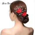 Bride Diaries Red Flower Hair Sticks Pearl Rhinestone Handmade Hair pin Fashion Bridal hair Accessories