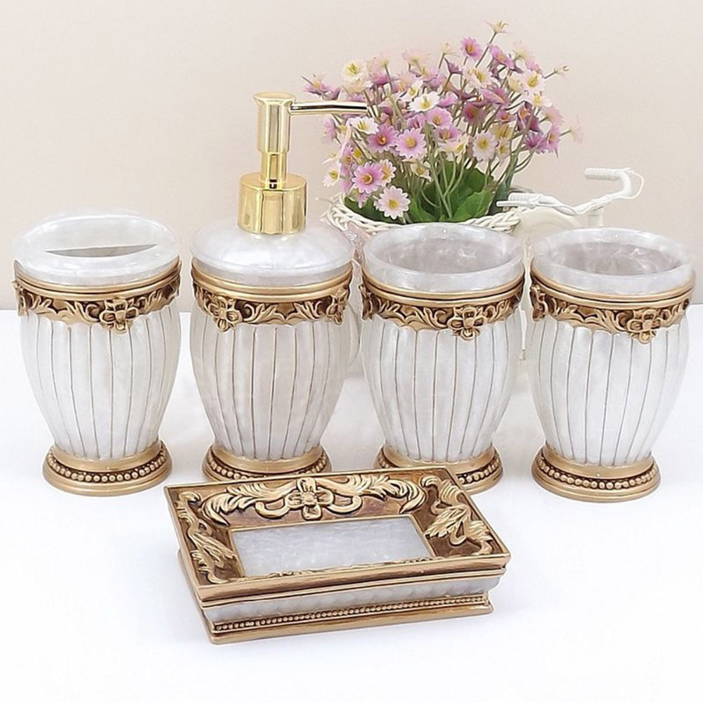 Homestia 5pcs Luxury Roman Resin Bathroom Set Lotion Shampoo Dispenser Tumbler Toothbrush Holder