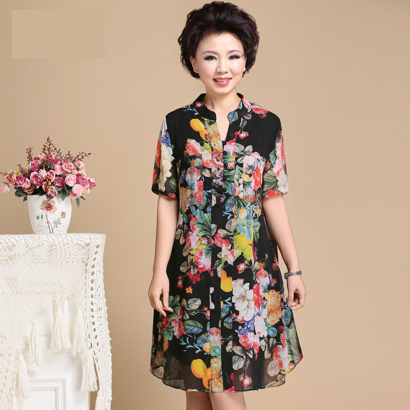Dress For Women Middle Age Female One Piece Dresses For