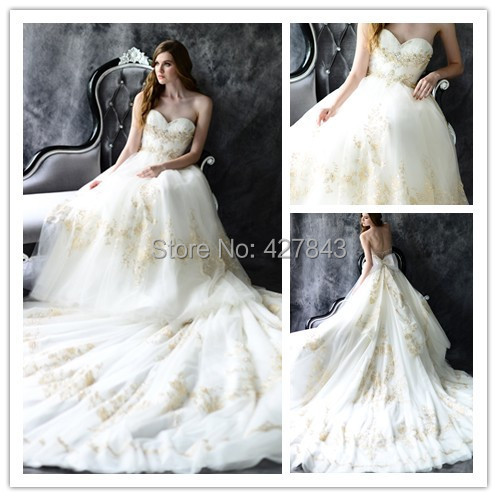 WD0197-2014 Sweetheart Tulle with Gold Lace Crystal Bridal Wedding Dress Sheer Back Big Bow Chapel Train Gold Embroidery Wedding Gown