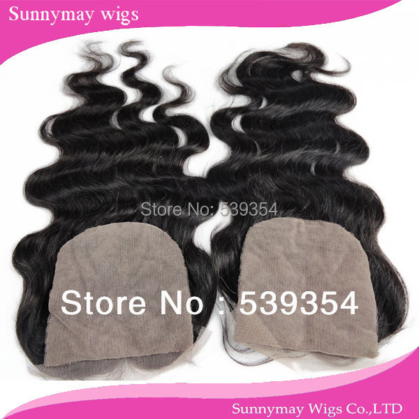 Фотография Stock Wholesale Middle Part Lace Closure Body Wave Brazilian Virgin Hair Silk Base Lace Closure With 2 Part