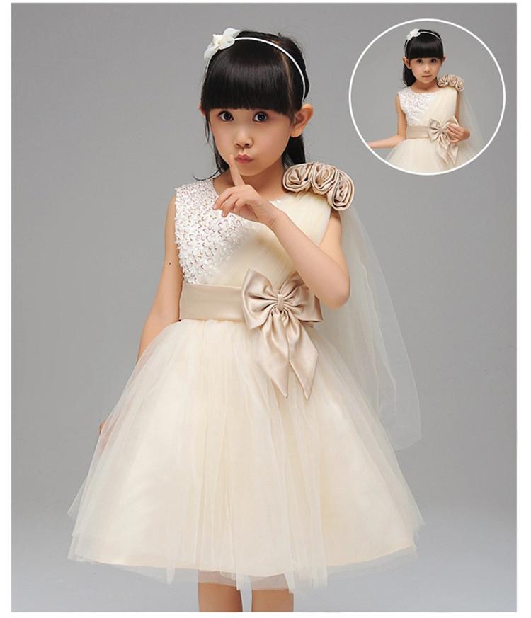 2015 Elegant fashion One shouder Infant Girls Dresses Kids Party Birthday Gift Flower baby girls dress Bow voile dresses - Ya Mom Love Baby Store store