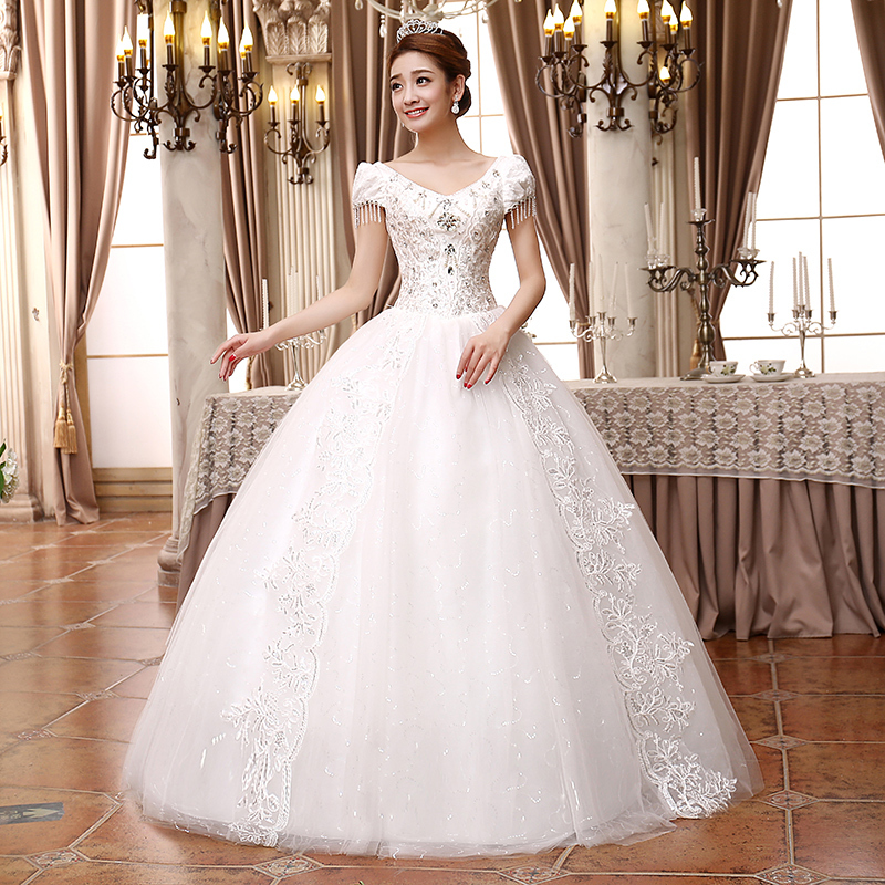 Wedding dress 2015 sweetheart sleeveless lace wedding for Very puffy wedding dresses