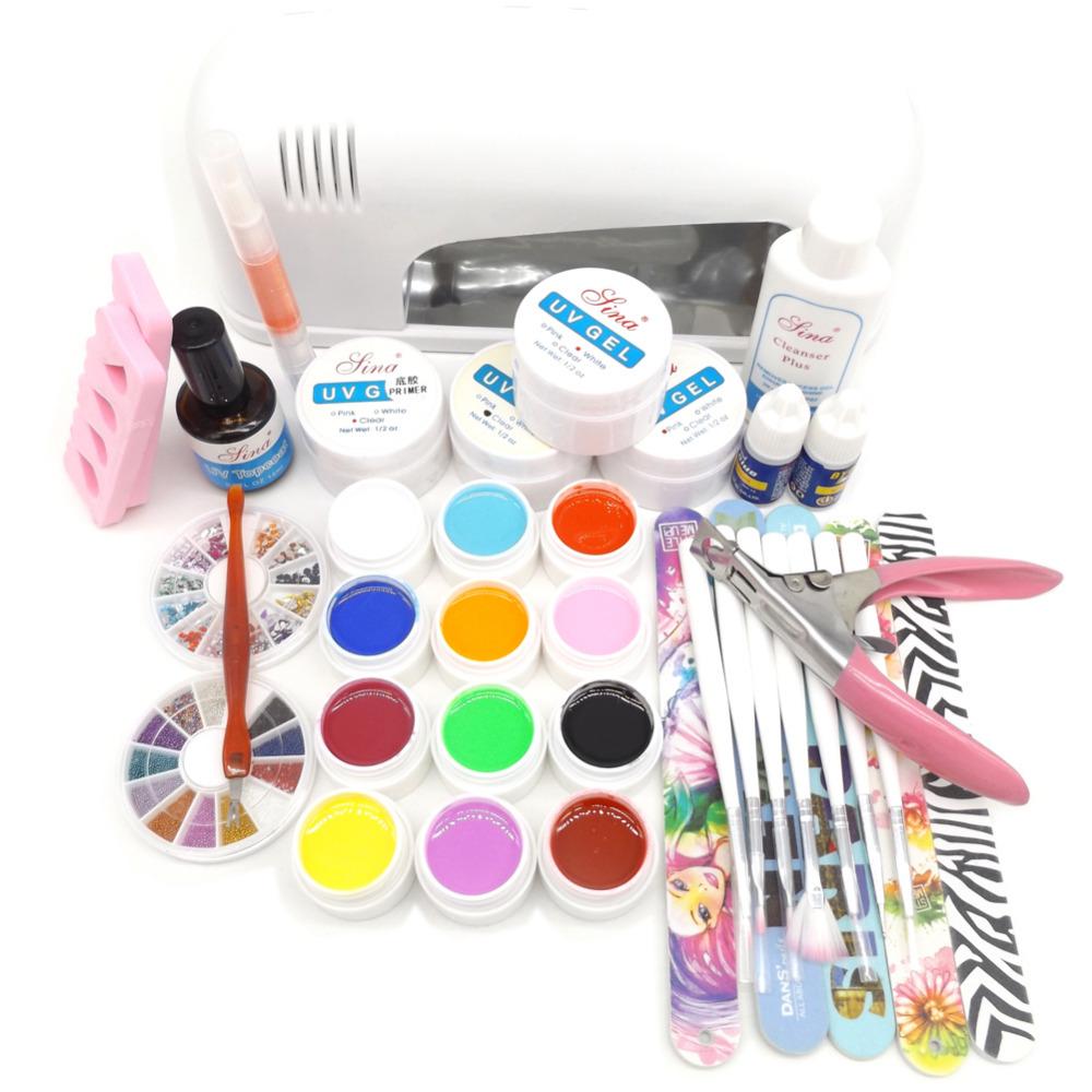 2016 New 9W UV Gel White Lamp Dryer Light 12 Pure UV Gel Nail Art Manicure Tips Set Kit 5 Nail Files<br><br>Aliexpress