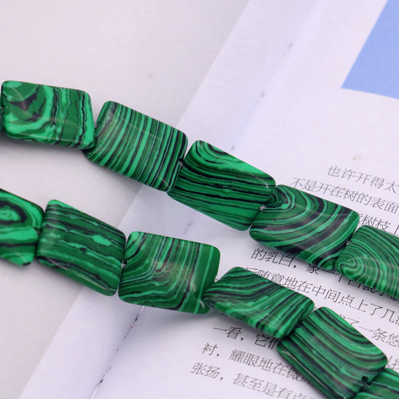 Rectangle Green malachite 13x18mm loose beads 15inches 2 piece/lot DIY hot sale stone beads suitable for women jewelry making(China (Mainland))