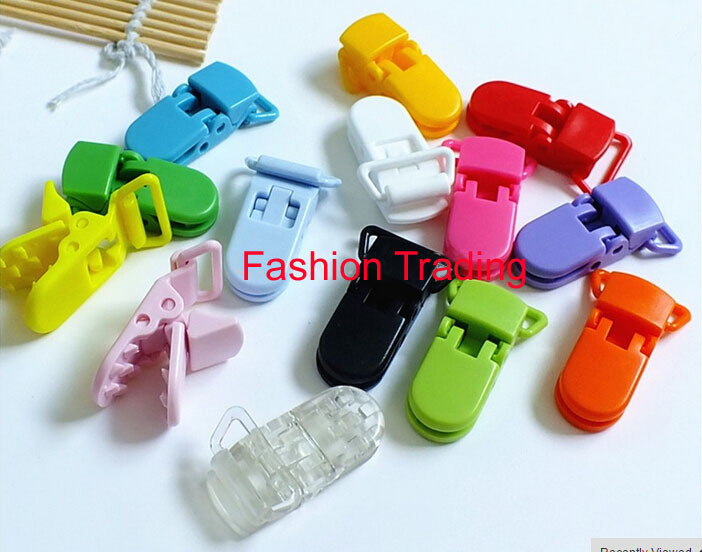 15 color mixed 800pcs 20mm D Shape Kam Pacifier Clip Plastic Dummy Clip Suspender Clip Soother Clip DHL Free Shipping(China (Mainland))