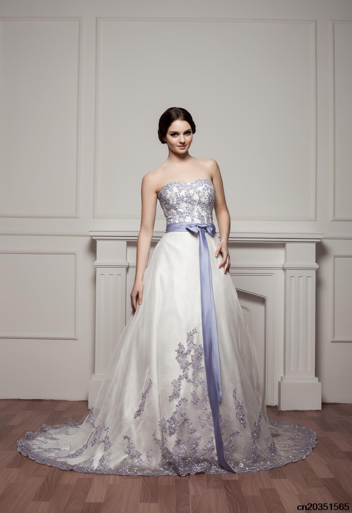 2015 royal blue and white wedding dresses with strapless