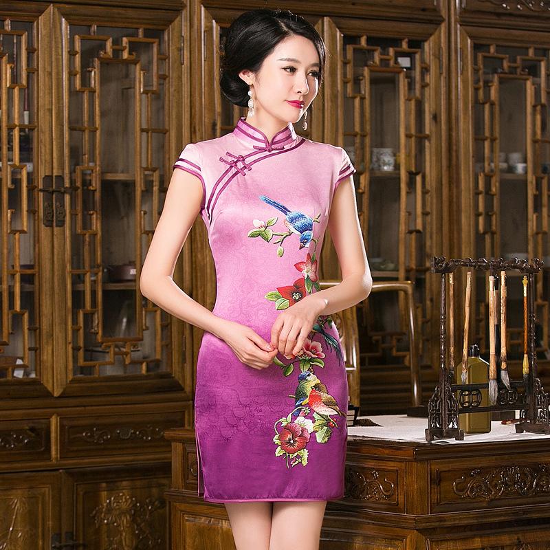 New Arrival Chinese Traditional Womens Mandarin Collar Printing Silk Qipao Mini Cheong-sam Dress S M L XL XXL F201657Одежда и ак�е��уары<br><br><br>Aliexpress