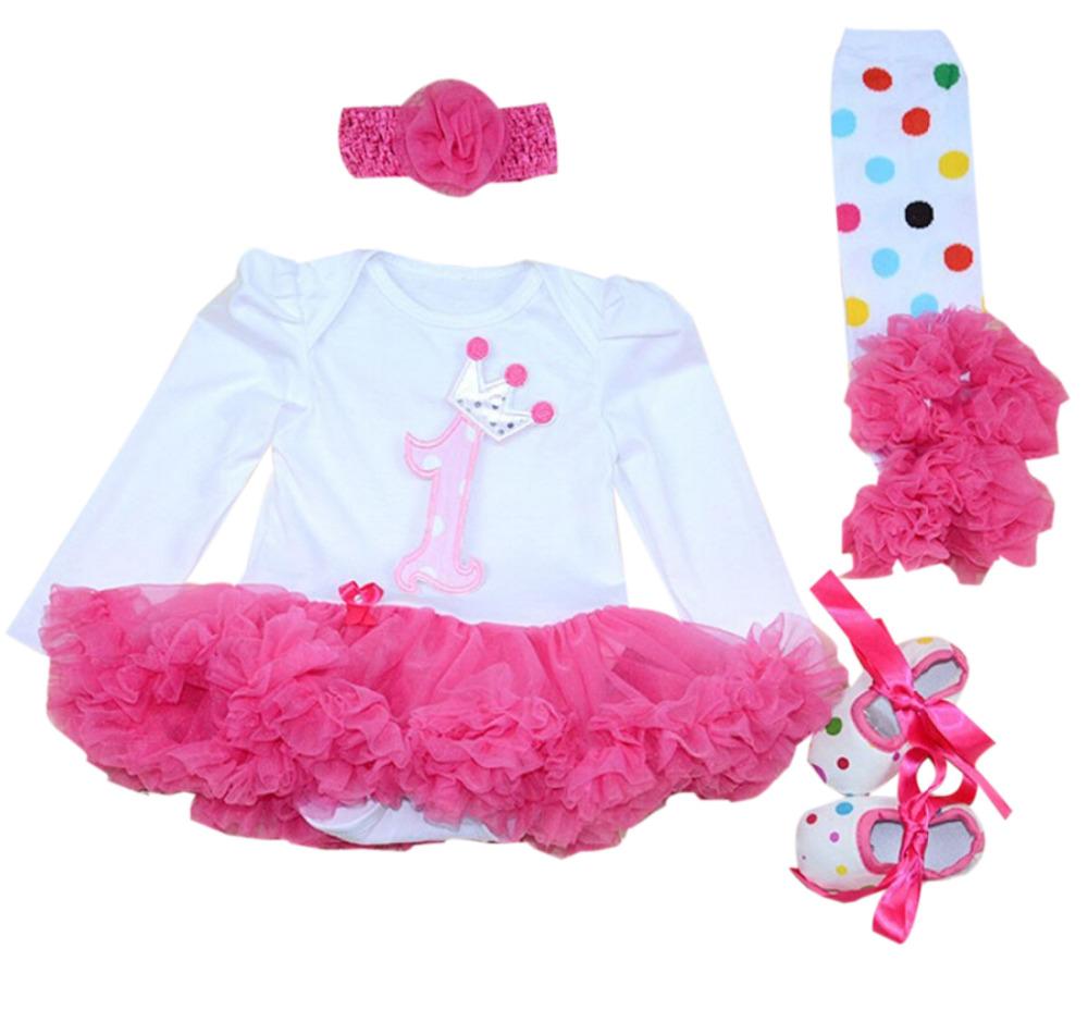 4PCs per Set Baby Girl Hot Pink Crown Tutu Dress Infant