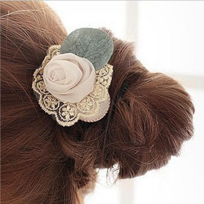 2016 New Korean Style Sweet Lace Rose Flower Hair Rope DIY Handwork Headwear Women Fashion Ladies Hair Accessories XHH01203(China (Mainland))