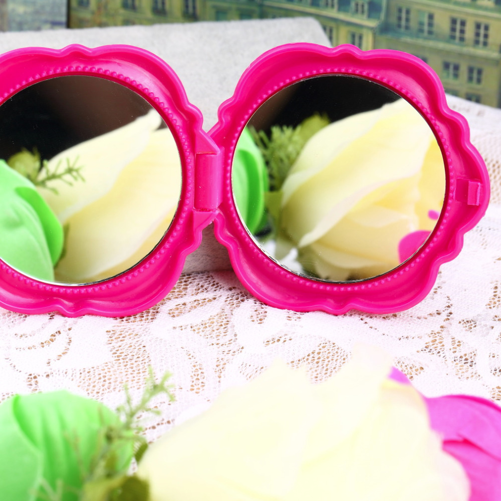 10 PCS New Novelty Stereo Rose Flower Shape Portable Pocket Mirror Cosmetic Makeup 3D Double Sided Mirror