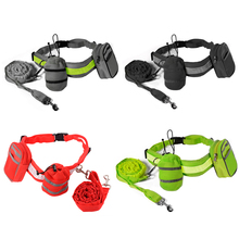 Hands Free Fitness Dog Leash Pet Traction Walking Lead Bags Grey/Black/Green/Red OS704-OS707(China (Mainland))