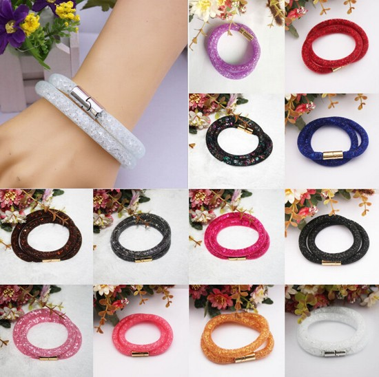 Fashion Colorful Stardust Crystal Wrap Mesh Magnetic Clasp Double Bracelet Gift(China (Mainland))