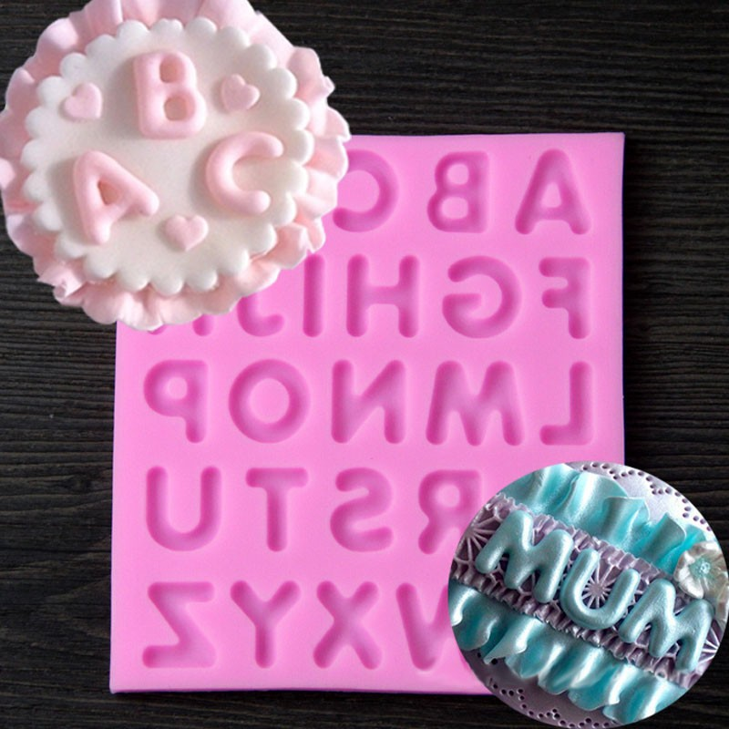 Large Silicone Mold 3d English Letter Alphabet Cupcake Kitchen Accessories Fondant Cake