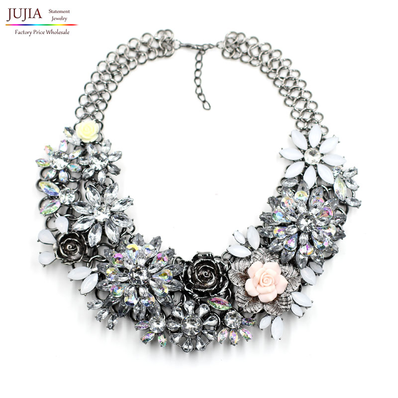 2016 New overstate winter vintage women fashion flower necklaces & pendants costume chunky collar statement Necklace - JUJIA Official Store store