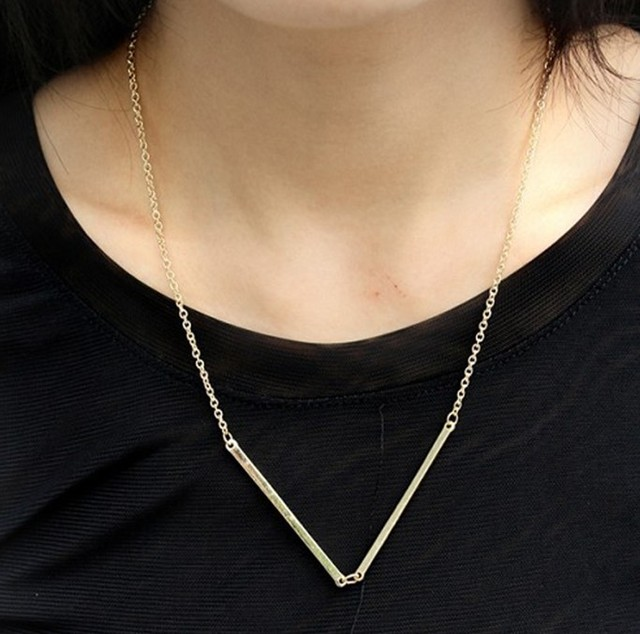 Free Shipping~  Simple Fashion Triangle pipe shaped chain necklace 15 pcs/lot