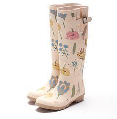 34 35 39 40 Women Fashion Flower Rain Boots Girl Knee-High Print Water Shoes Spring Summer Autumn WaterProof High boots 3 4 9 10<br><br>Aliexpress