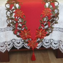 New For Christmas Polyester Embroidery Xmas Table Runner Satin Tablecloth Cutwork Placemat Red Table Flag Towel Cloth Covers(China (Mainland))