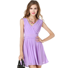 Buy 2017 New Women Summer Dress V-neck sleeveless spaghetti strap chiffon pleated dress Casual Party Dresses Vestidos for $23.92 in AliExpress store