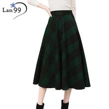 Women's Skirts Tartan Kilt Plaid Skirts Plus Size Thick Winter Vintage Woolen Umbrella Long High Waist Pleated Maxi Plaid Skirts