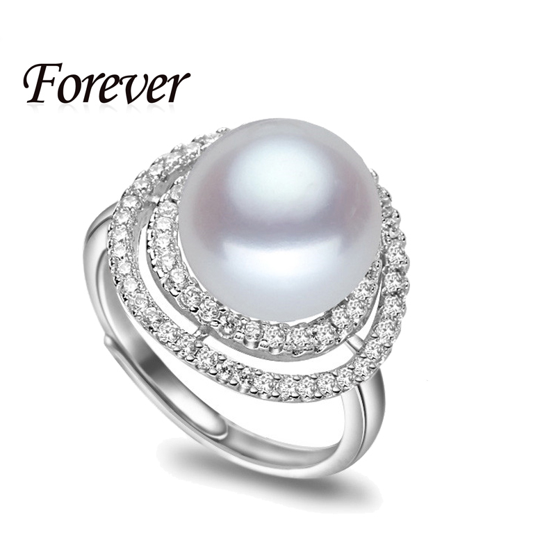 Genuine Natural Freshwater Pearl Adjustable Free size Bridal Party Punk Rings for Women Wedding 925 Sterling Silver Jewelry Gift
