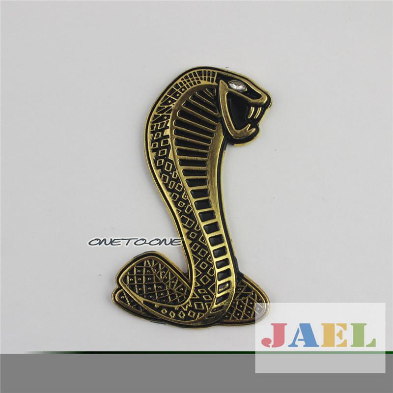 3D Metal Silver Mustang Cobra Emblem Badge Sticker For Car/Motorcycle(China (Mainland))