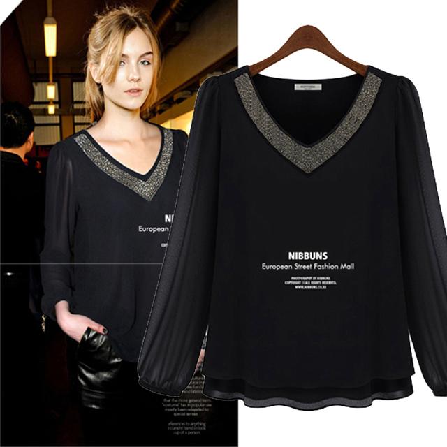2013 female fashion plus size loose long-sleeve shirt slim chiffon top female sexy shirt
