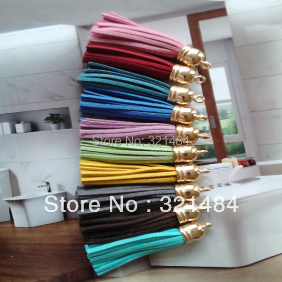 Wholesale 5.5cm mixed 500piece Gold Cap Suede Leather Tassel Fringe Charms For Keychain, Purse, Phone, Curtain DIY<br>