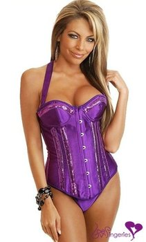 Sexy Purple corset pearl Chapper top clubwear tights Gothic style dress for women XXL plus size, Violet(B134)