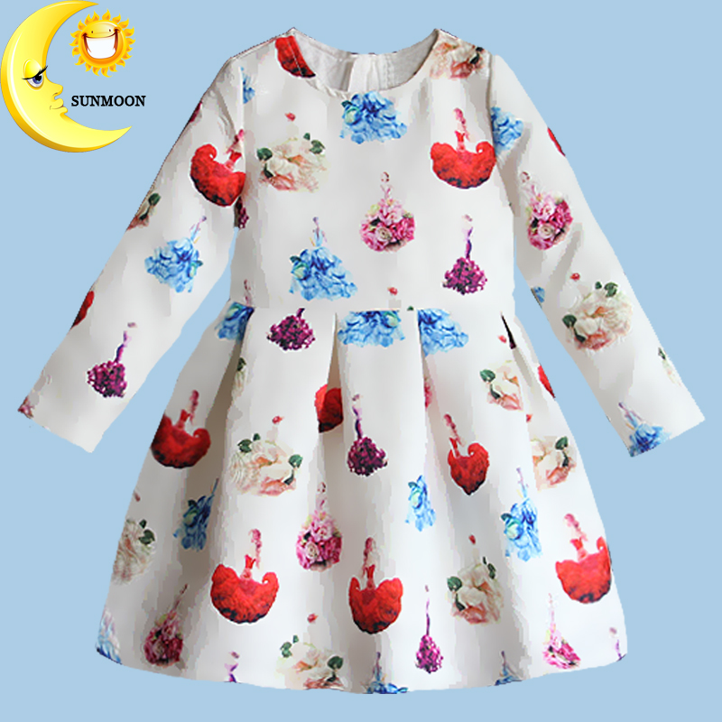 Name brand new girl dress print children dresses kids clothes for princess holiday party wedding winter clothing 2016 hot(China (Mainland))