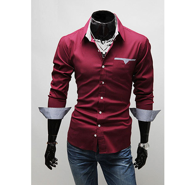 2015 Imported Clothing Fashion Menswear Autumn Men Red Black White Long Sleeve Social Casual Dress Shirt
