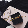 2016 European and American style retro minimalist shiny metal sequins double short necklace fashionable leather short