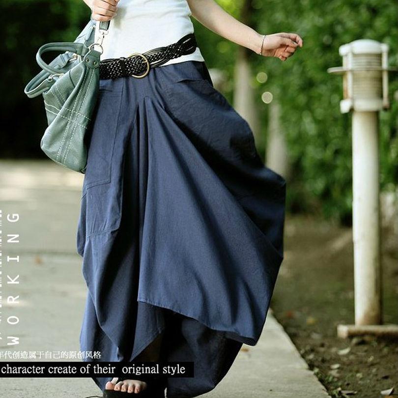 Skirts 2016 Women Skirt Elastic Waist Big Pockets Linen Asymmetrical Solid Loose Long Maxi Casual Saia Longa - Best Supplier store