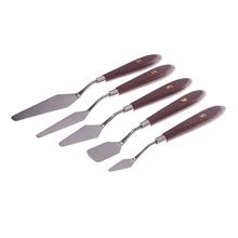 New 5Pcs/set Stainless Steel Spatula Artist Oil Painting Palette Knife Mixed Scraper Set #53640(China (Mainland))