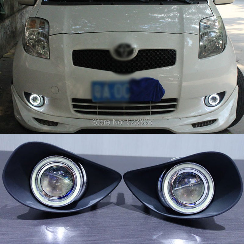 For Toyota Yaris 2007-2009 LED Daytime Running Lights DRL Projector Lens Fog lights + Angel Eyes Kit(China (Mainland))