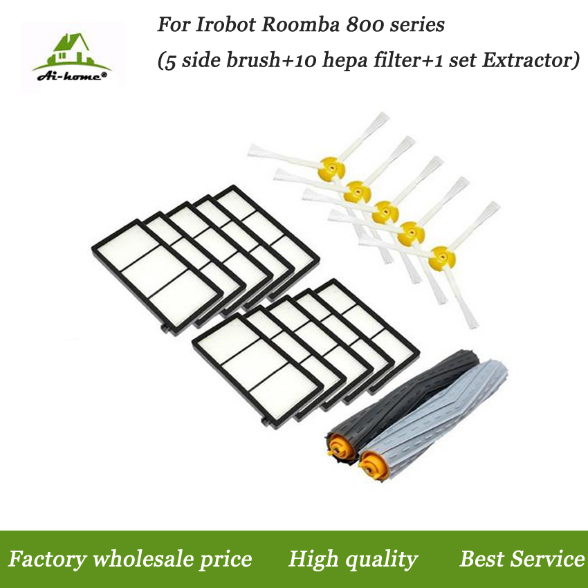 1x Tangle-Free Debris Extractor Set & Side Brushes & Hepa Filter For iRobot Roomba 800 series 870 880 980 Vacuum Cleaning Robots(China (Mainland))