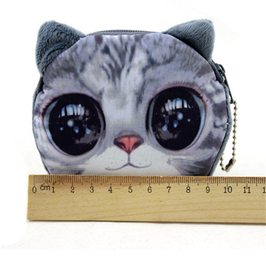 Fashion Girl Cute Animal Cartoon Face Bag Zip Coin Change Purse Case Polyester Wallet Drop Shipping