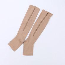 Lkwder 1 Pasang Unisex Kompresi Kaus Kaki Ritsleting Kaki Lutut Kaus Kaki Wanita Pria Terbuka Toe Tipis Anti-Kelelahan Elastis sox Kaus Kaki Pria(China)