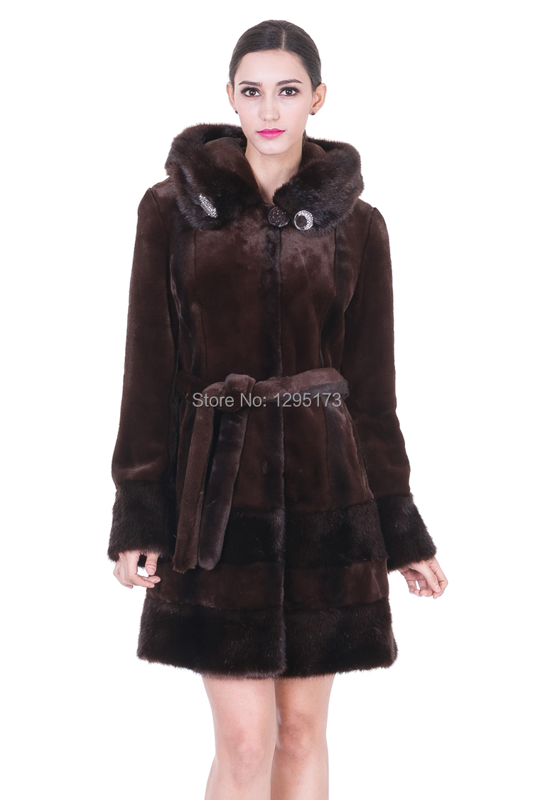 2014 new Dark brown faux mink cashmere with fur women knee-length coat free shipping(China (Mainland))
