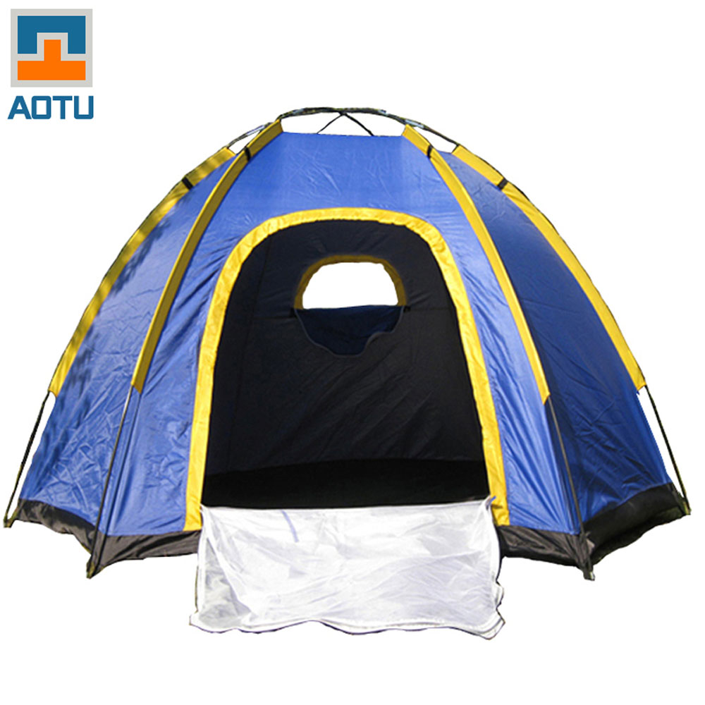 US Stock Promotion Portable Camping Tent 4 Person Waterproof UV Outdoor Camping Hexagonal Tent Travel Sea Beach Tents Blue(China (Mainland))