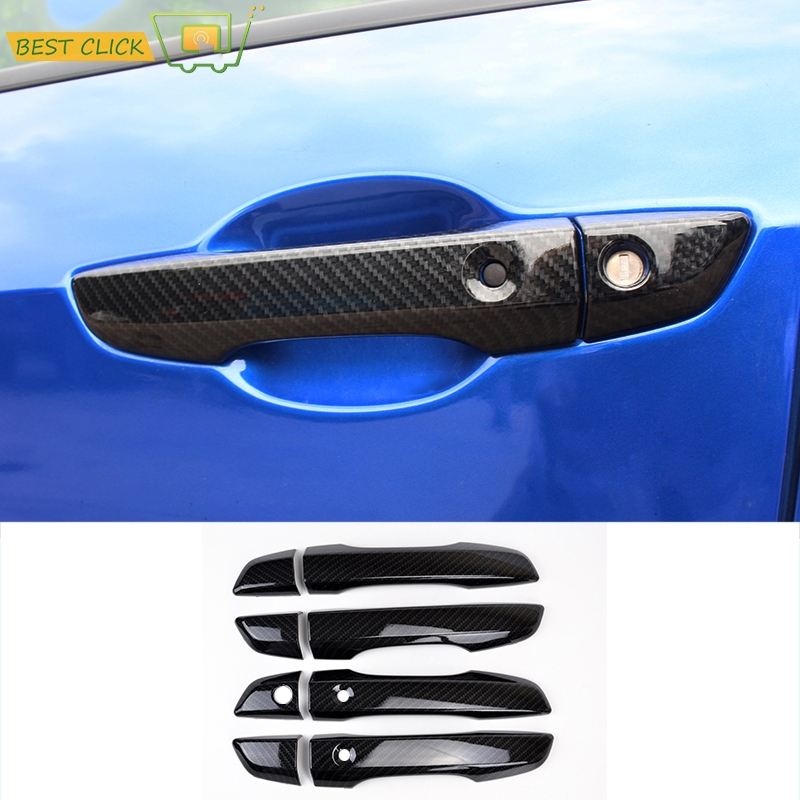 FIT FOR 2016 2017 HONDA CIVIC CHROME CARBON FIBER STYLE SIDE DOOR HANDLE COVER WITH SMART KEY HOLE TRIM MOLDING OVERLAY GARNISH(China (Mainland))
