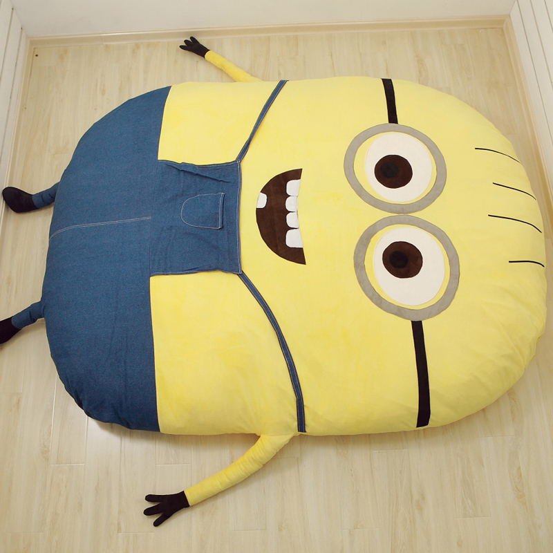 Factory Outlet Minions Cartoon Mattress Cushion Plush Minion Mattress Bed Despicable Me 2 Totoro Double Bed Sleeping Bag Tatami(China (Mainland))