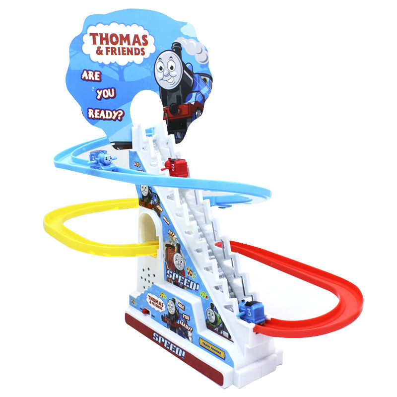 Thomas And Friends Trackmaster Climbing stairs set ,Tomas train LED light music Electric Rail Road kits boy assembly toys car(China (Mainland))