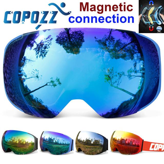 COPOZZ бренд лыжные очки сменные магнитные линзы UV400 анти-туман лыж маска лыжи мужчины женщины снег сноуборд очки