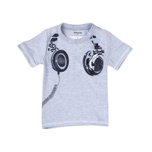 Wholesale Fashion Children Headphone Print T Shirts Kids Short Sleeve Tees 100% Cotton Tops Clothing Boys Summer T-shirt 2T-7T