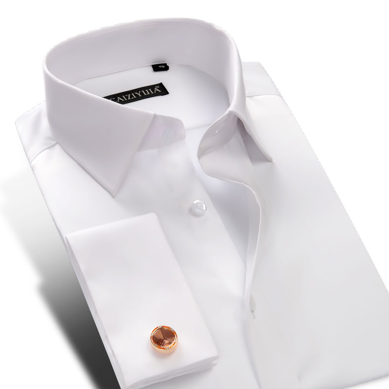 New french cuff button men dress shirts long sleeve for Mens white cufflink shirts